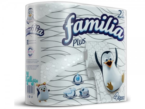 Туалетная бумага белая «Familia Plus» двухслойная