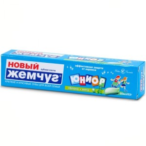 """Детская зубная паста """"Юниор"""" яблоко и мята ( 7-14 лет) Новый жемчуго и мята ( 7-14 лет)"""
