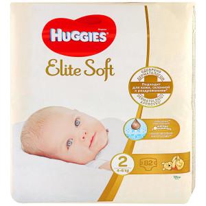 Хаггис Элит Софт 2 (4-6 кг), 82 шт (Huggies Elite Soft)