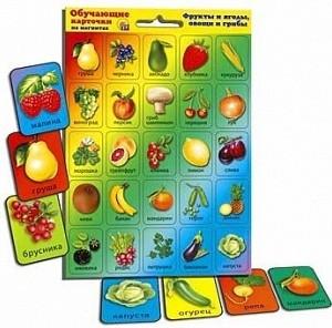Обучающие карточки на магнитах - фрукты, овощи, грибы.