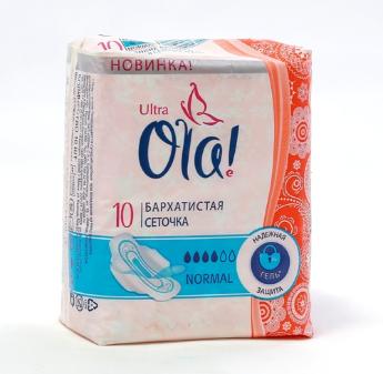 Ультратонкие прокладки OLA! с бархатистой сеточкой 10 шт (нормал)