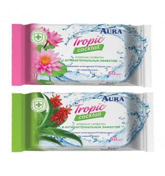 Аура влажные салфетки Tropic Coctail 60 шт (в ассортименте) (Aura)
