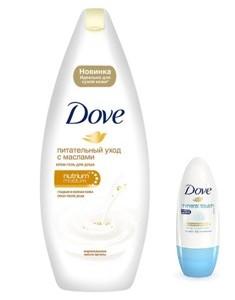 Набор Dove (крем-гель для душа с драгоценными маслами, 250 мл + дезодорант-антиперспирант Прикосновение природы, 50 мл) (Дав)