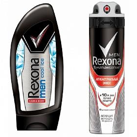 Набор Rexona спрей мужской Антибактериальный эффект 150 мл + Гель для душа мужской Cool Ice 250 мл