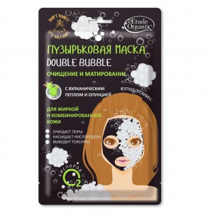 Пузырьковая маска для лица Double Bubble Очищение и матирование с вулканическим пеплом и опунцией Etude Organix 25 г (для жирной и комб. кожи)