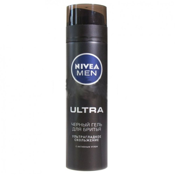 Нивея черный гель для бритья (Ultra Black) Nivea 200 мл. Формула с активным углем в составе обеспечивает ультрагладкое скольжение и защиту от раздражения. Можно использовать как гель для умывания