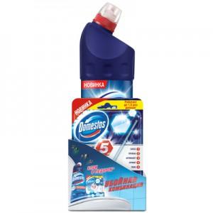 Промонабор Domestos Чистящее средство универсальное Кристальная чистота 1 л + Блок для унитаза Power 5 с хлором (Доместос).