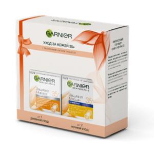 """Подарочный Garnier набор """"Антивозрастной уход, Защита от морщин 35+"""":дневной крем для лица,50 мл и ночной крем для лица,50 мл."""