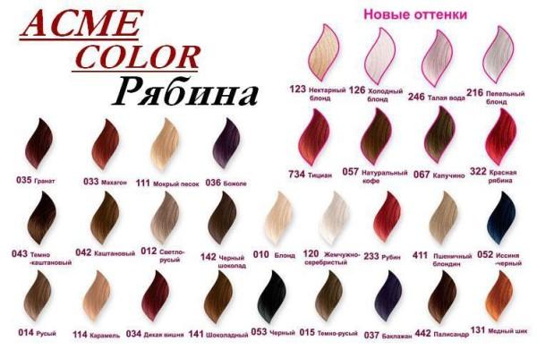 Краска Рябина Acme Color (палитра в описании)