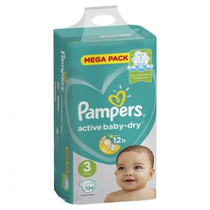 Pampers active baby 6-10 кг 124 шт (подгузники Памперс)