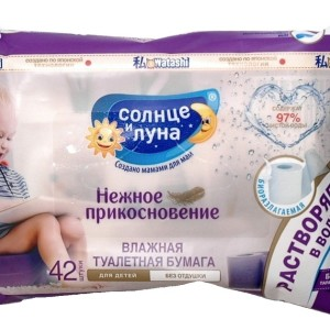 Солнце и луна влажная туалетная бумага детская 42 шт