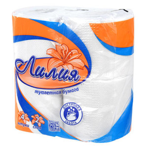 Лилия туалетная бумага 2-сл 4 шт (белая)
