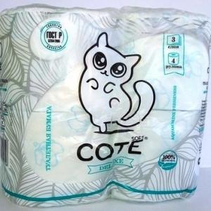 Туалетная бумага Коте 4 шт. 3 слоя Aquamarine Freshness (Cote)