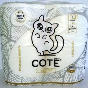 Туалетная бумага Cote 3 слоя, 4 шт. Vanilla sky (Коте)