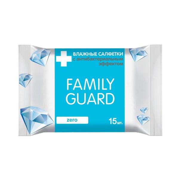 влажные салфетки Family Guard с антибактериальным эффектом zero, 15 шт(Фемили Гуард)