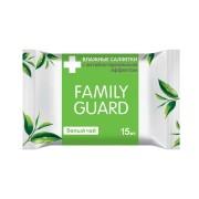 Фемили Гуард влажные салфетки 15 шт с антибактериальным эффектом белый чай(Family Guard)