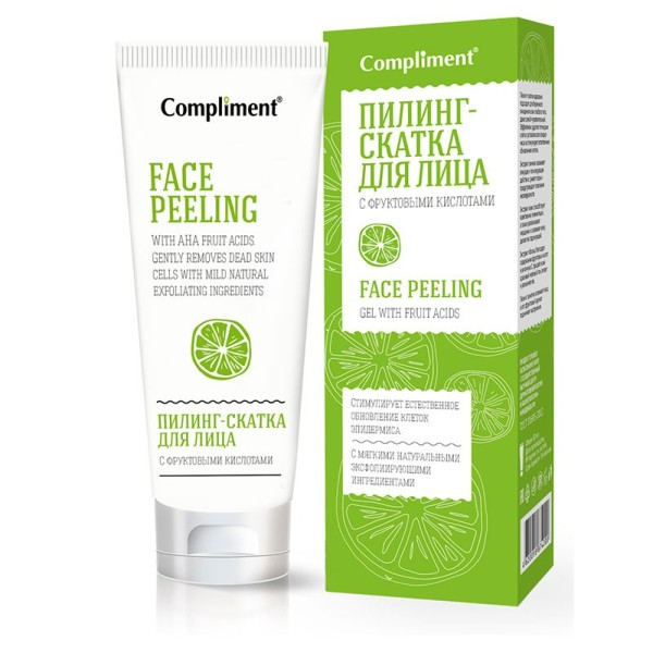 Пилинг скатка Комплимен для лица с фруктовыми кислотами, Compliment, 80 мл