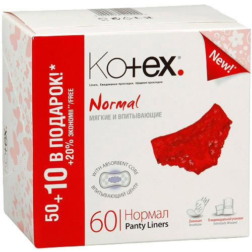 Ежедневки Котекс нормал (Kotex normal) 50+10шт