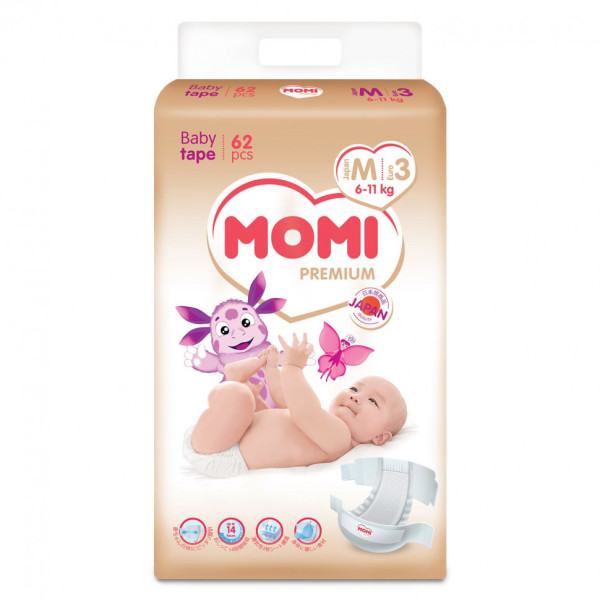 Моми премиум подгузники М 6-11 кг 62 шт (Momi Premium)