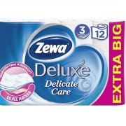Зева Делюкс белая туалетная бумага Zewa Deluxe 3 слоя, 12 рул
