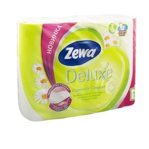 Туалетка Зева делюкс Ромашка бумага Zewa Deluxe, 3 слоя, 12 рулонов