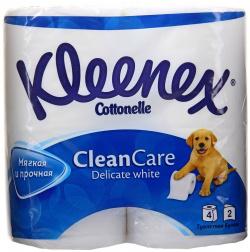 Клинекс туалетная бумага Kleenex Delicate White, 2х слойная, 4 рулона