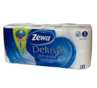 Трехслойная бумага Zewa Deluxe туалетная, белая Зева 8 рулонов