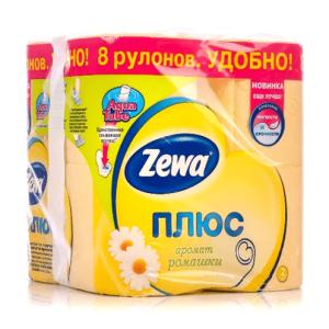 Зева Плюс бумага Туалетная двухслойная Ромашка ZEWA, 8 рул