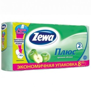 Зева туалетная бумага Яблоко двухслойная Zewa Плюс, 8 рул