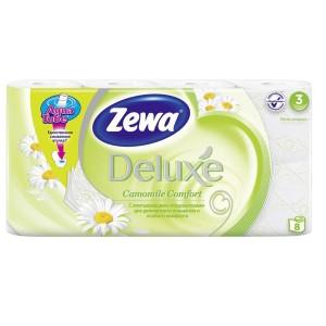 Zewa Туалетная бумага Deluxe Ромашка (Зева) 3 слоя, 8 рулонов