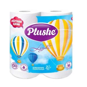 Плюше полотенца бумажные 2-слойные белые Plushe Light, 2 рулона по 10 метров