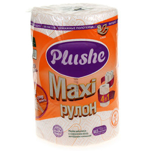 Плюше макси полотенца бумажные Plushe Maxi 2-слойные белые с рисунком 40 метров
