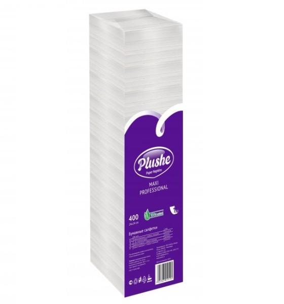 Плюше БигПак салфетки бумажные Plushe Classic Big Pack 24×24 см 1-слойные Белые, 400 шт
