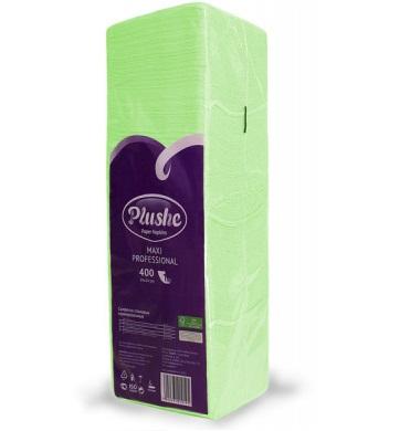 Плюше однослойные салфетки бумажные Plushe Classic Big Pack 24×24 Салатовые 400 шт