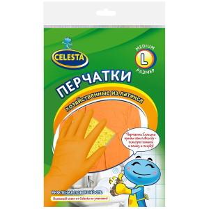 Хозяйственные перчатки Celesta латексные эконом, Селеста размер L