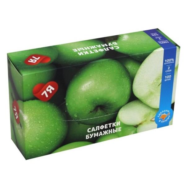 Салфетки косметические 7Я Яблоко двухслойные 100 шт.