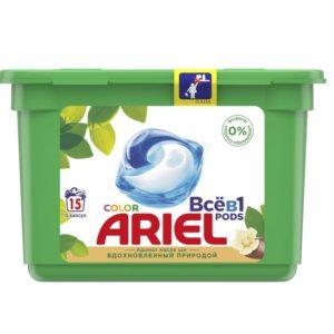 Ариель жидкий гель Капсулы колор масло Ши Ariel 15 шт