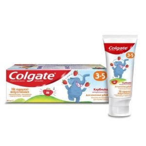 Колгейт детская паста зубная 3-5 Клубника с фторидом, Colgate 60 мл