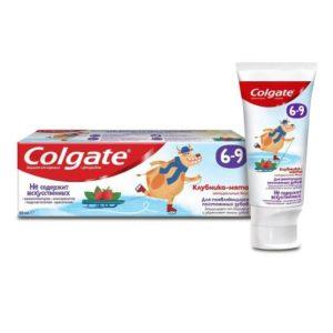 Паста Колгейт детская зубная паста 6-9 Клубника-мята с фторидом, Colgate 60 мл