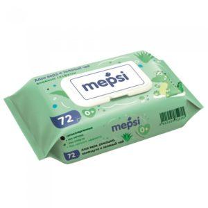 Влажные салфетки Алое Мепси детские с клапаном (MEPSI) 72 шт