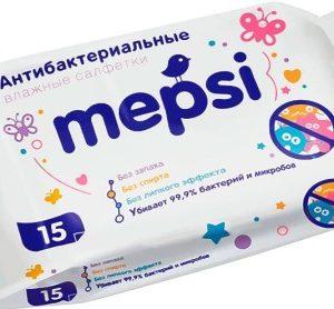 Салфетки Mepsi антибактериальные влажные 15 шт (Мепси)