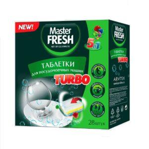 Мастер фреш таблетки для посудомоечной машины TURBO 5в1 MASTER FRESH 28 шт