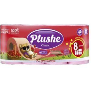 Plushe бумага 8 рулонов по 18 м 2 слоя (Плюше) - Клубника