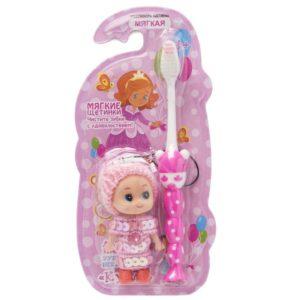 Вилсен зубная щетка детская мягкая с игрушкой Кукла VILSEN
