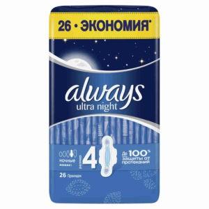 Олвейс ультра Квадро гигиенические прокладки Always ночные 26 штук