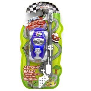 Вилсен детская зубная щетка мягкая с игрушкой Машинка, VILSEN