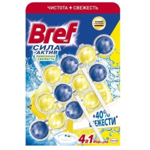 Бреф блок Туалетный Сила-Актив Лимонная свежесть Bref 3x50г,