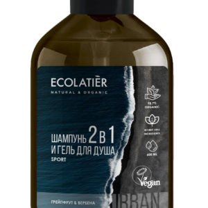 Ecolatier Мужской гель для душа и шампунь 2 в 1 Кипарис и зеленый чай 600 мл