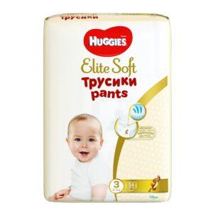Huggies Elite Soft 3 Трусики-подгузники 6-11 кг (Хаггис Элит Софт) 54 шт